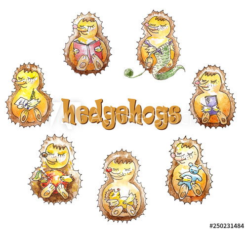 A set of a family of seven friendly hedgehogs who are having.
