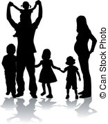 Happy large family. Large family of mother and father with.
