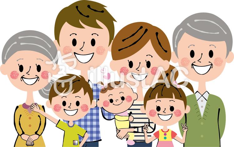 Nakayoshi seven people Family upper body.