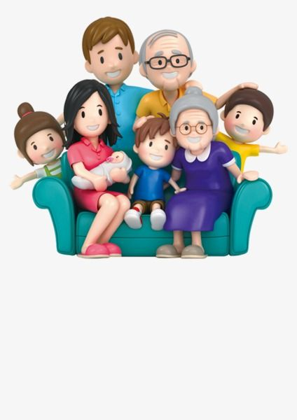 3d Cartoon Family Portrait, Cartoon Clipart, Family Clipart.