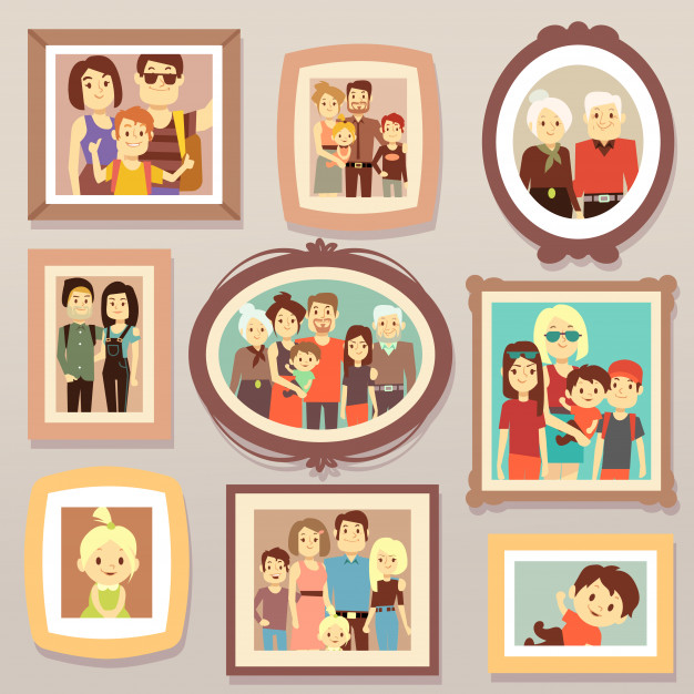 Big family smiling photo portraits in frames on wall vector.
