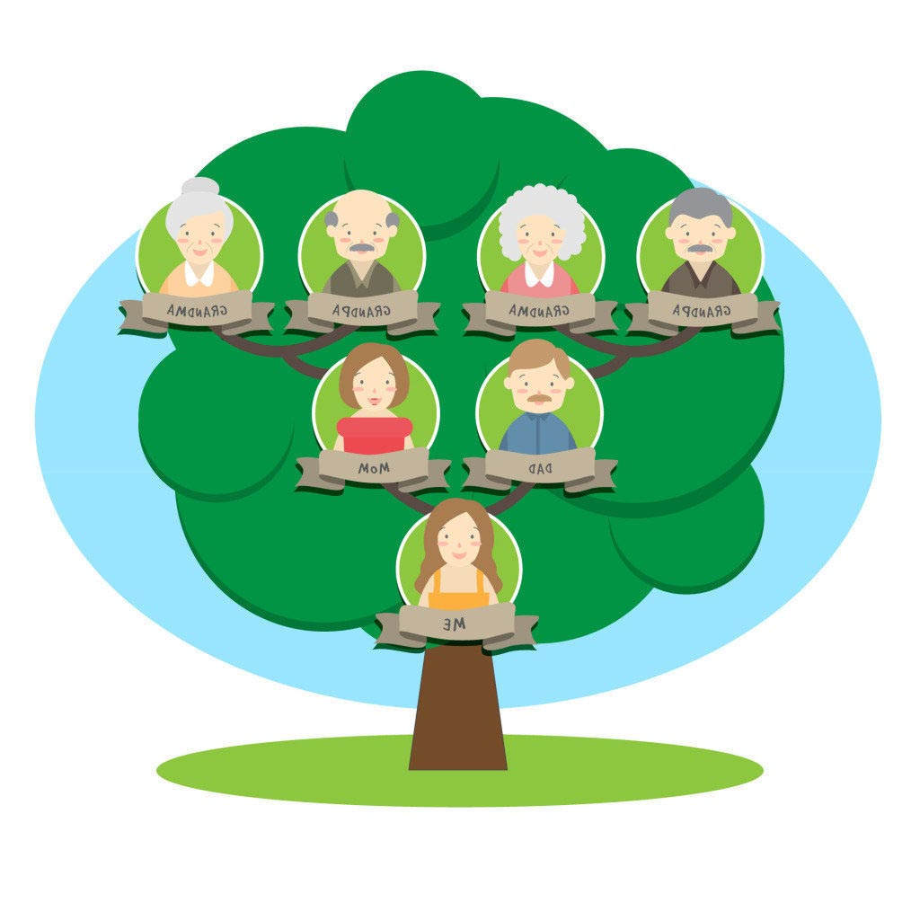 Inspirational Family Tree Clipart Sketch Green Vector.