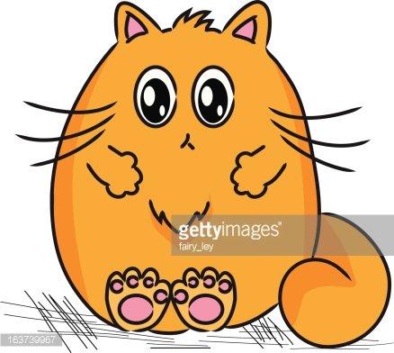 Orange Fat Cat Clipart Image.