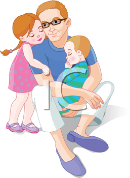 Royalty Free Clipart Image of a Father With His Children in.