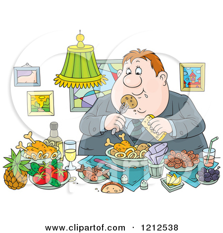 Cartoon of an Outlined and Colored Gluttonous Obese Man Eating a.