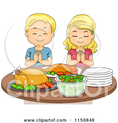Cartoon of a Blond Boy and Girl Praying Before a Feast.