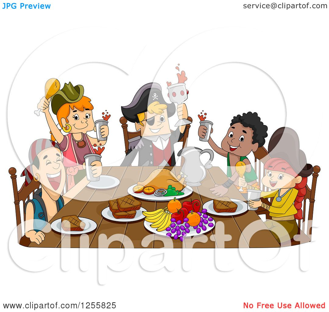 Clipart of a Group of Pirates Celebrating at a Feast.