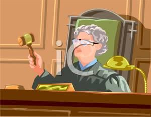 Female Judge Banging Her Gavel.