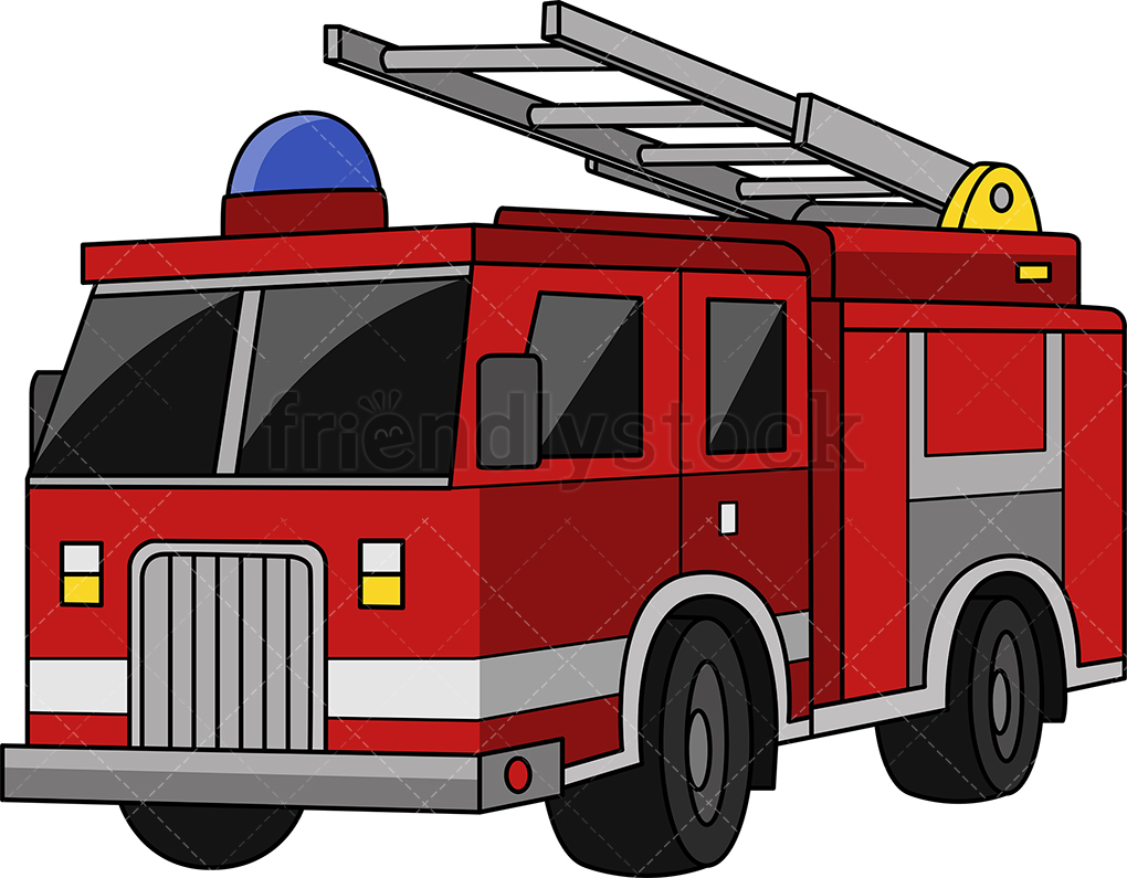 Fire Truck Cartoon Clipart Vector.