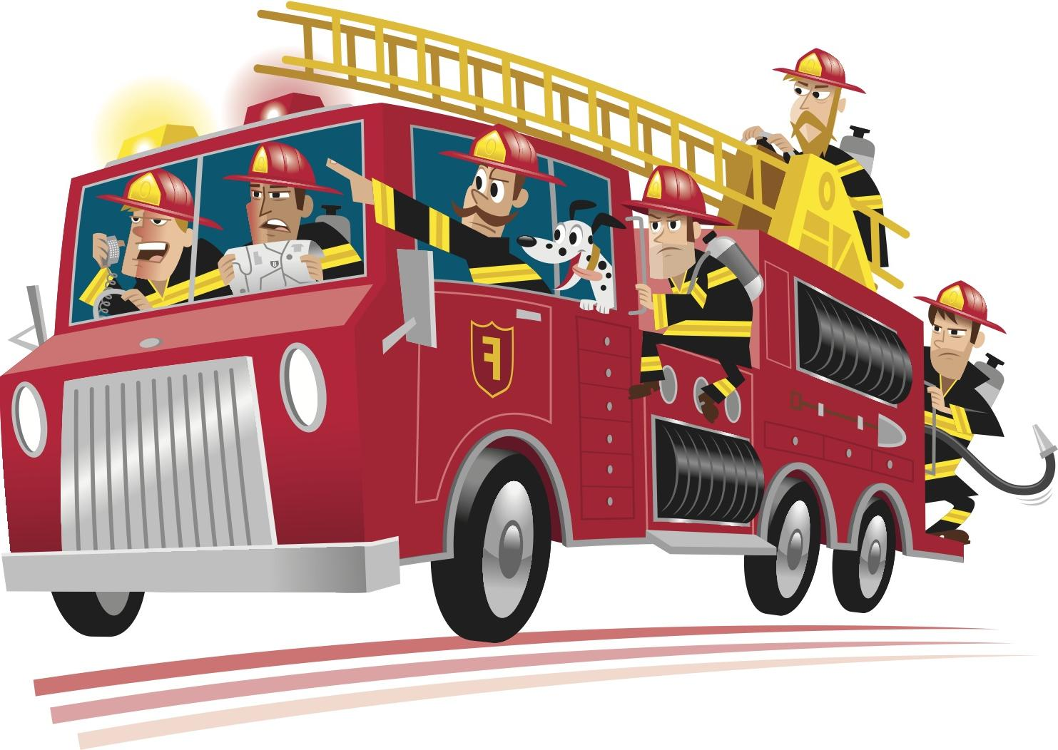 Hd cartoon fire truck clipart clipartcow library.