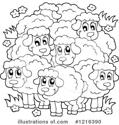 Flock Of Sheep Clipart Black And White.