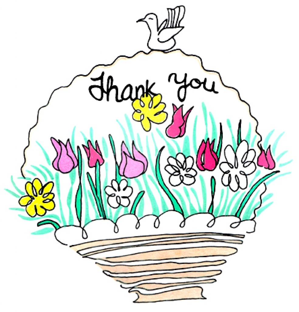 Clip art thank you flowers.