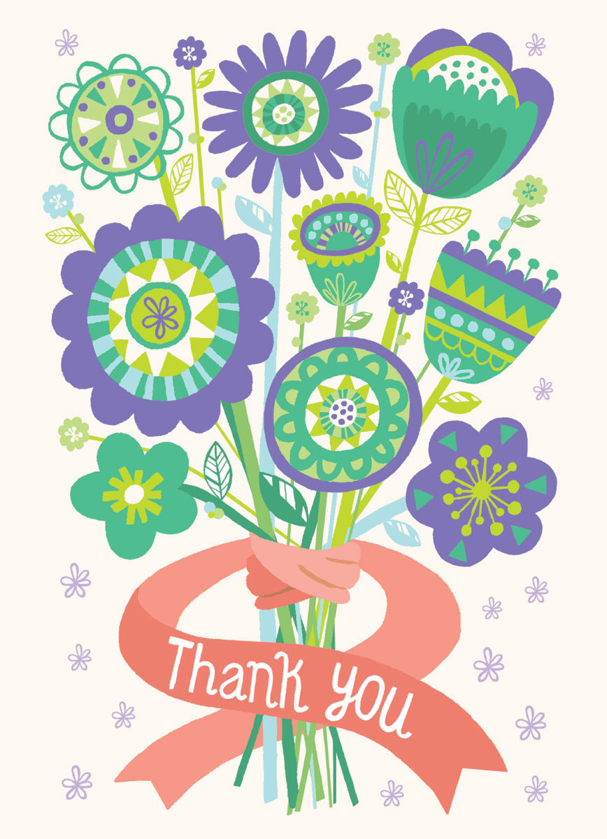 Thank You Flower Bouquet Clipart.