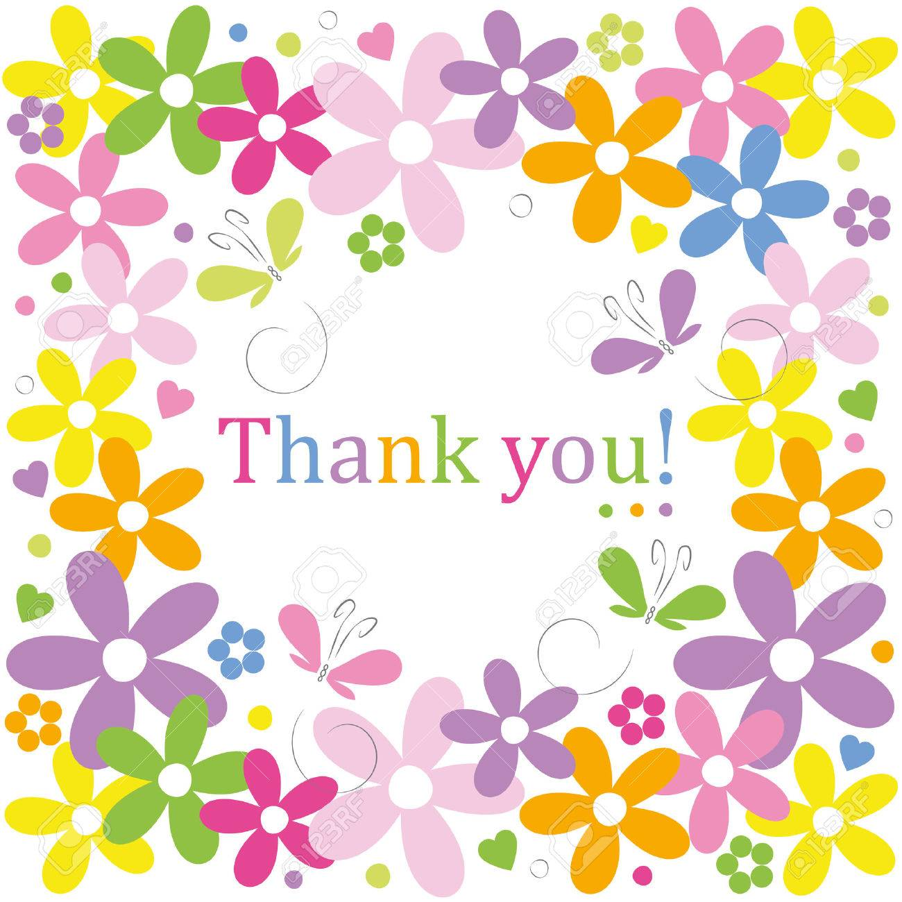 Hearts Flowers And Butterflies Border Thank You Card Royalty Free.
