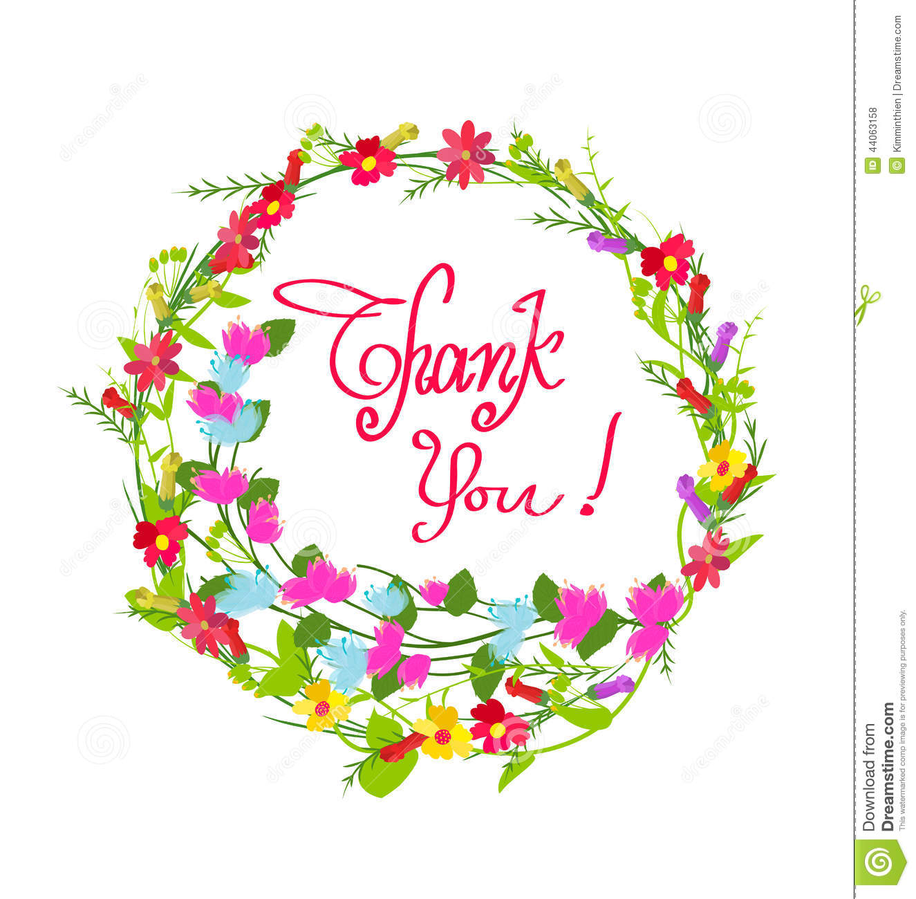 Thank you With Flowers Set stock vector. Illustration of.