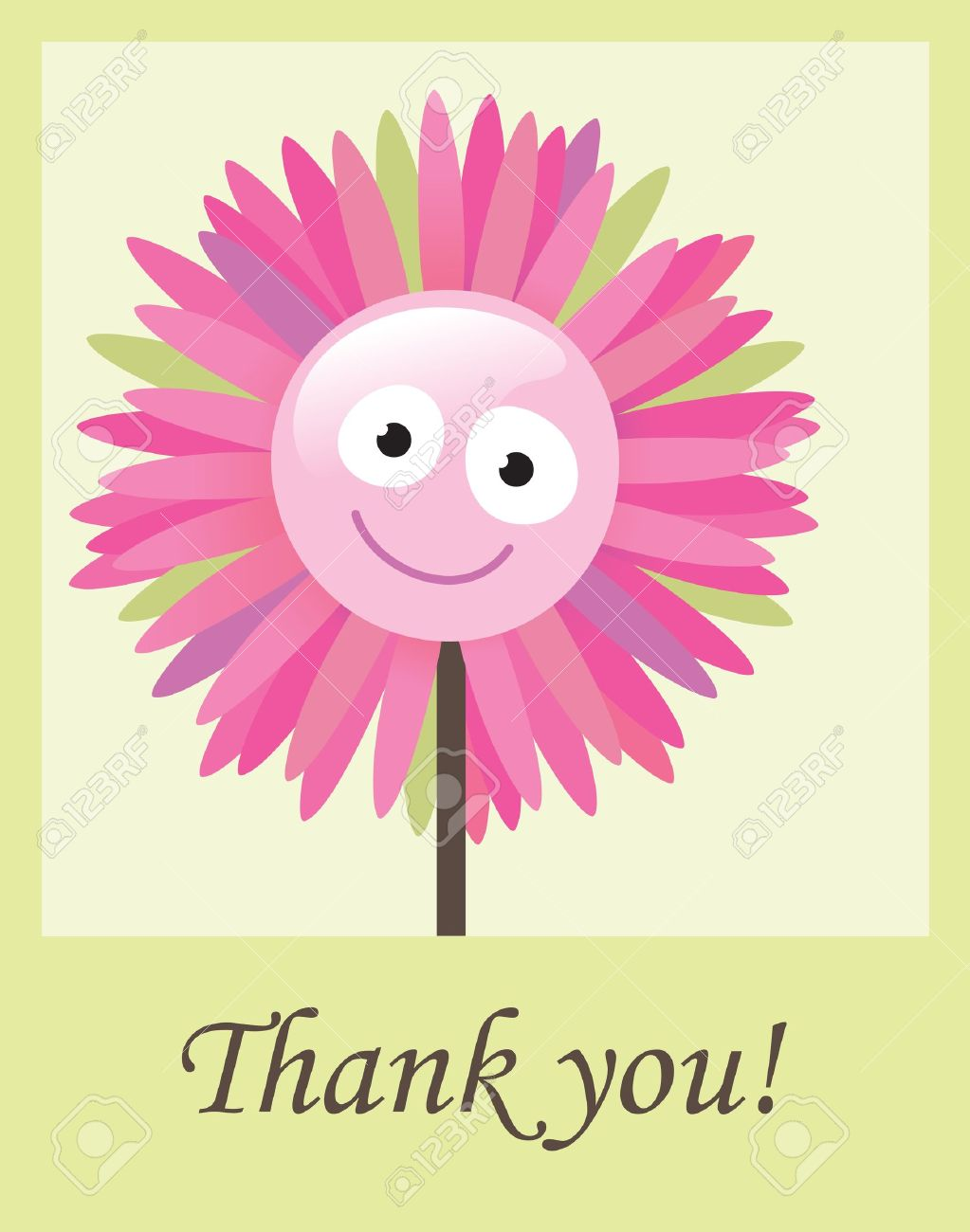 Flower Thank You Card Royalty Free Cliparts, Vectors, And Stock.
