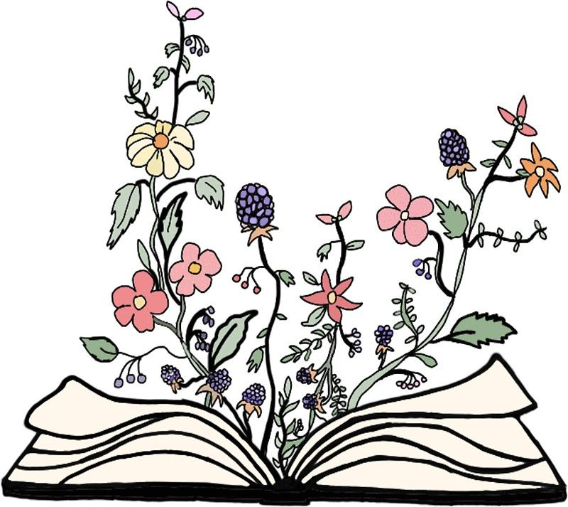 flowers growing from book \' Sticker by andilynnf in 2019.