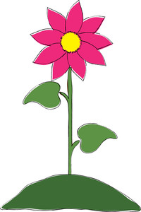 clip art illustration of a pink flower growing on top of a.