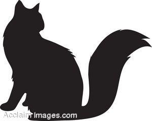Clip Art of a Fluffy Cat Silhouette.