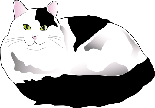 Black And White Fluffy Cat Clipart.