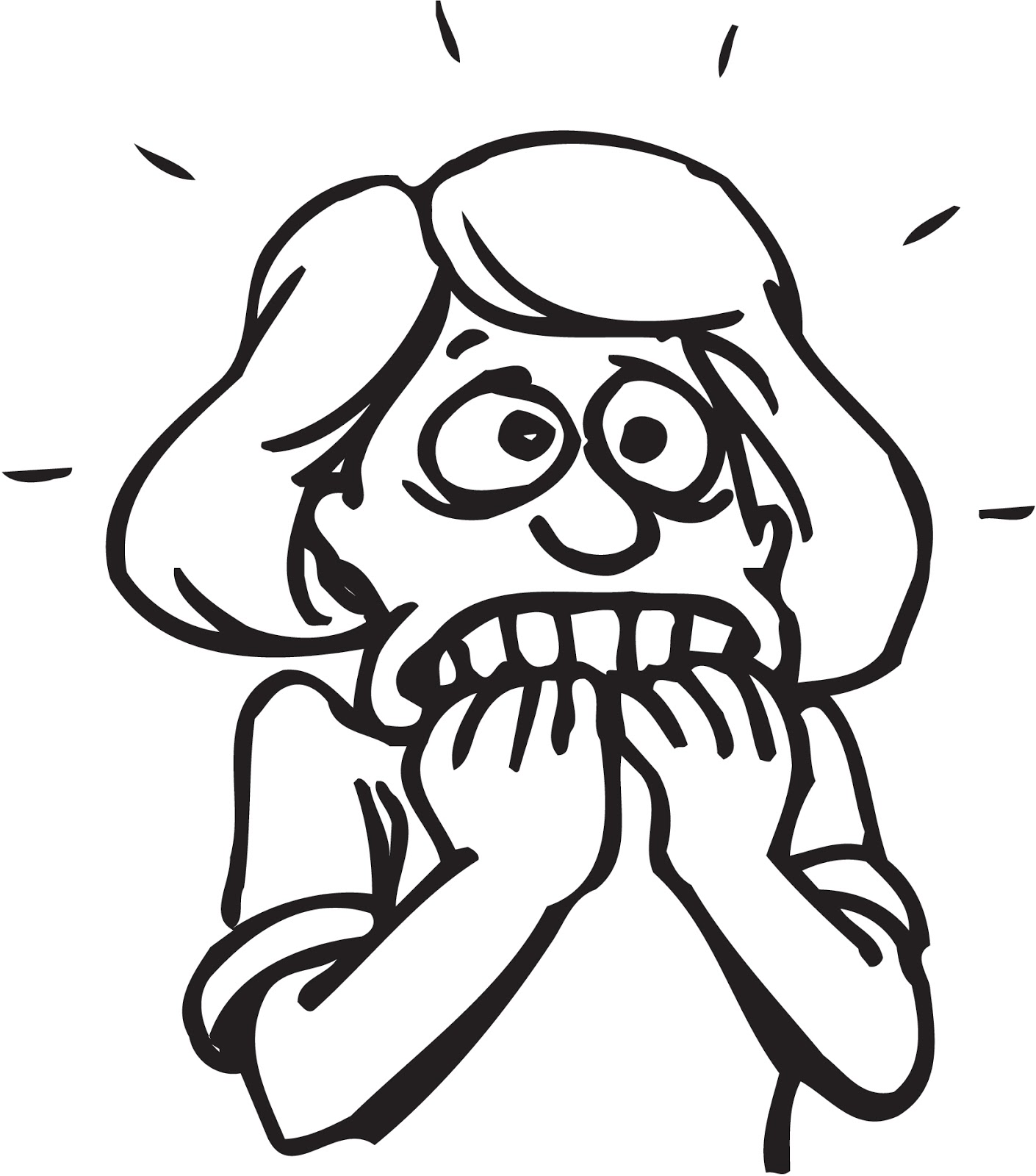 Frightened woman clipart.