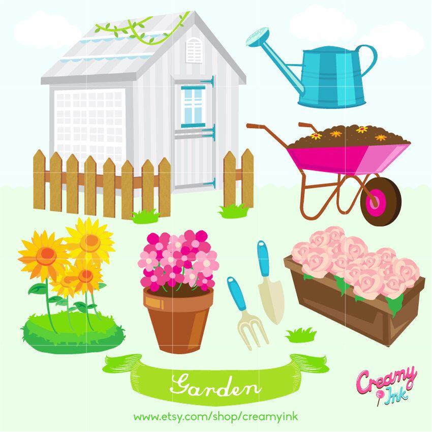 Beautiful Garden Digital Vector Clip art / Gardening Digital.