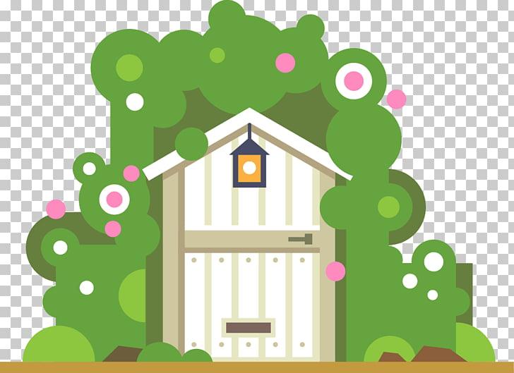 Garden House Illustration, cabin PNG clipart.