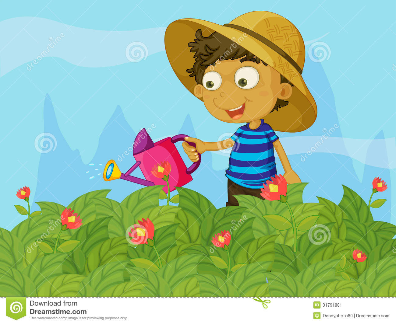 A Boy Watering The Plants In A Garden Stock Image.