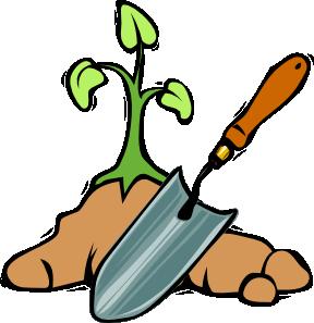 Planting a garden clipart.