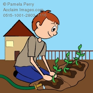 Clip Art Illustration of a Red Haired Teen Boy Planting a Garden.