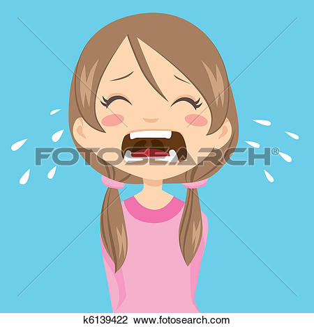Clipart of Girl Crying k6139422.