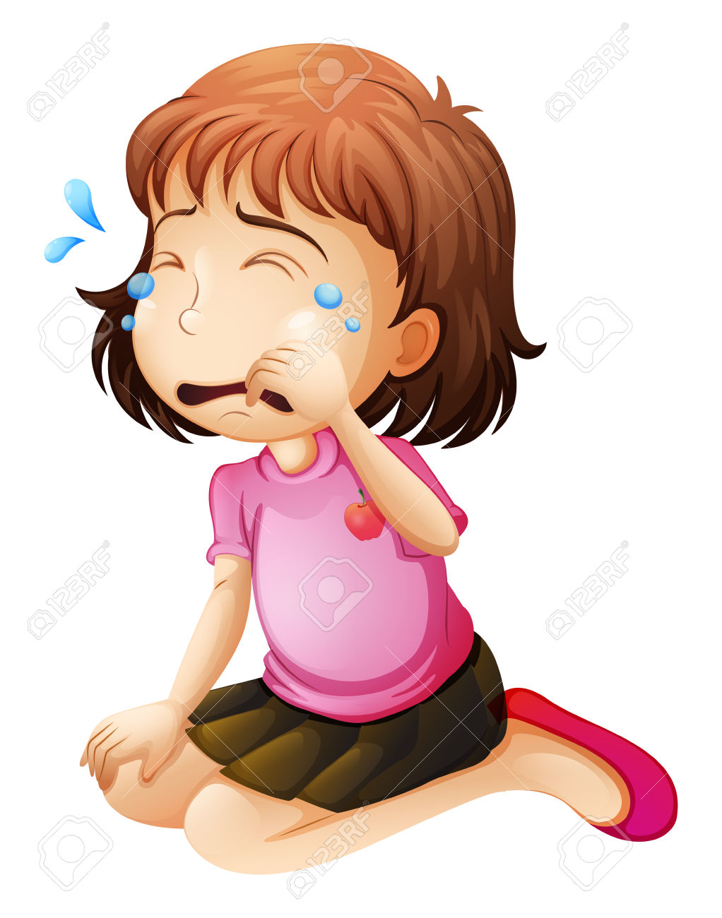 Illustration Of A Little Girl Crying On A White Background Royalty.