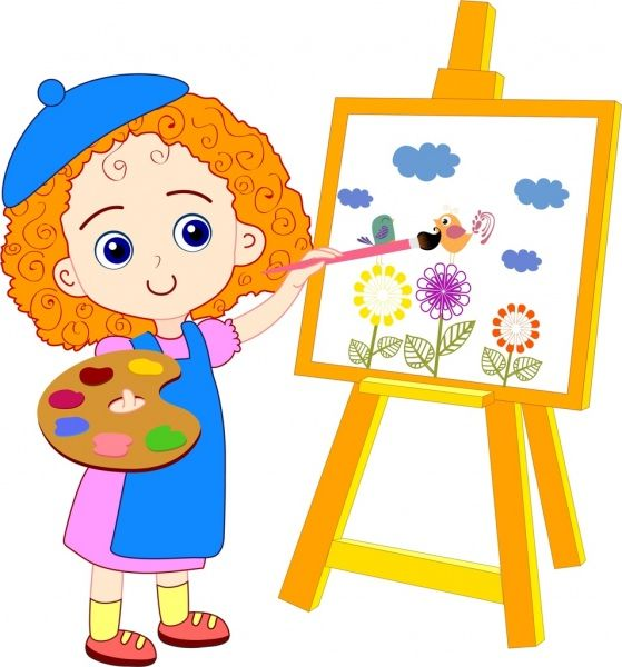 Cartoon Painting For Kids painting girl drawing colored.