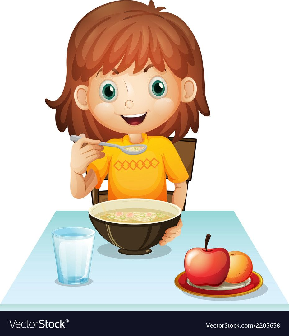 A little girl eating her breakfast Royalty Free Vector Image.