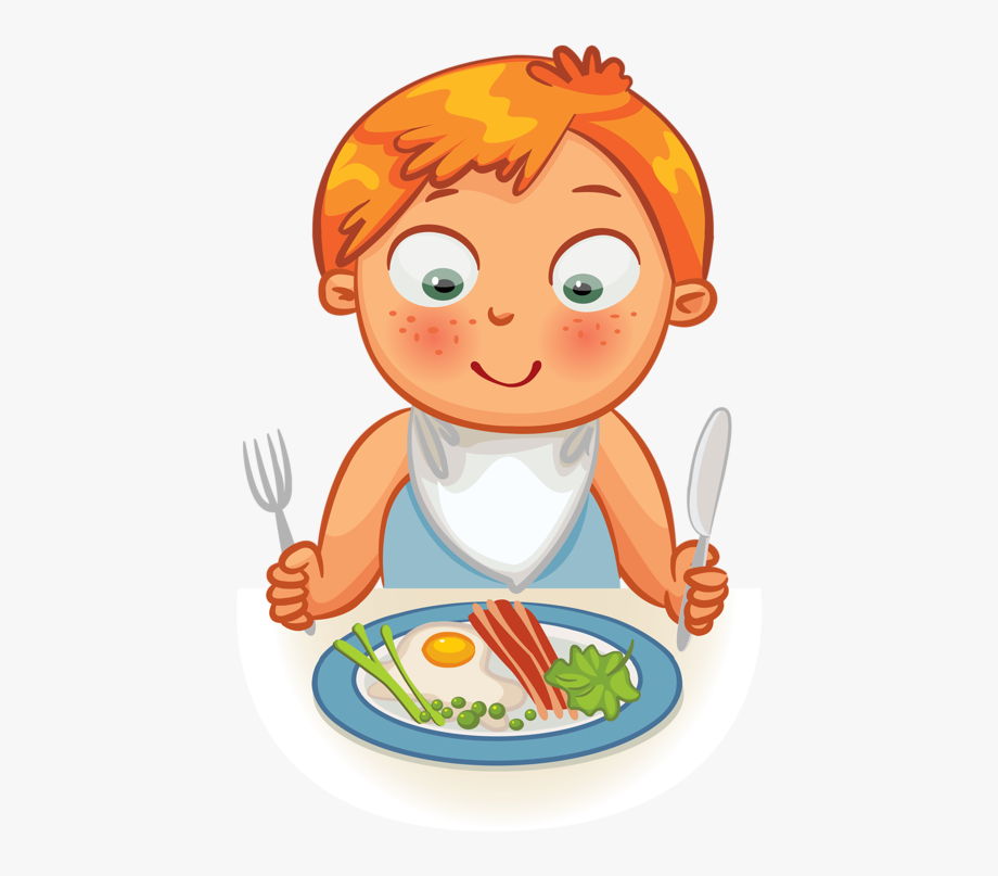 Clip Art Girl Eat Breakfast Clipart.