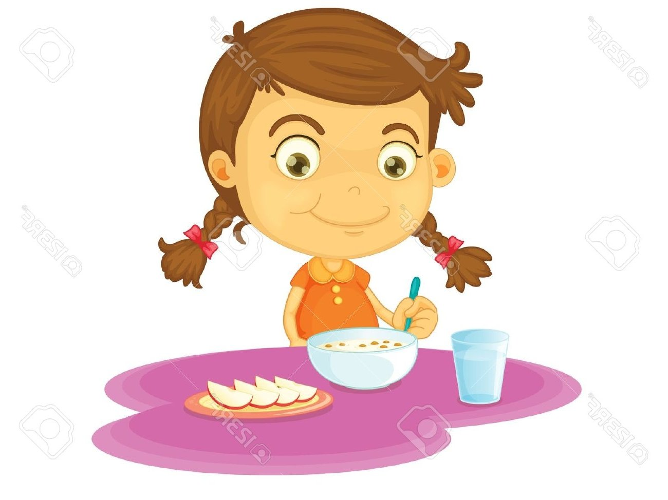 A Girl Eating Breakfast Clipart.