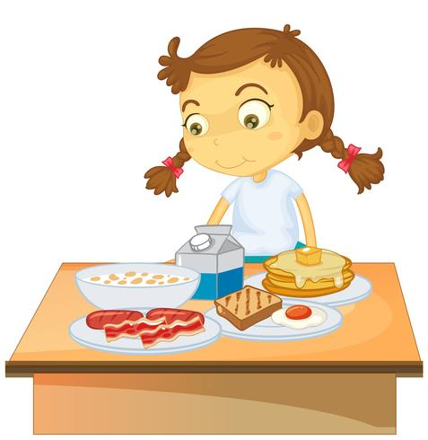 A Girl Eating Breakfast on White Background.