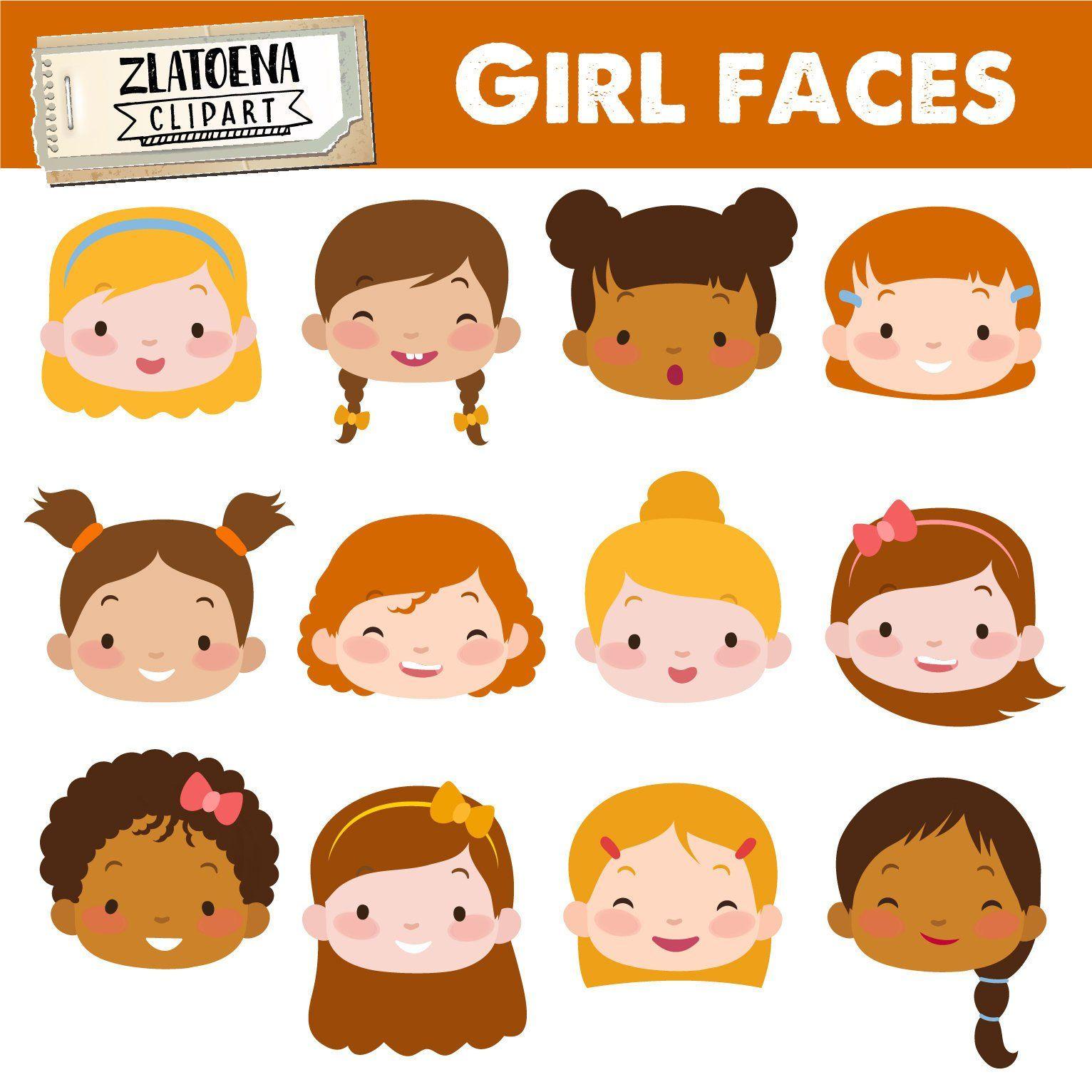 Cute Girl Faces clipart Kids Faces Digital Clipart Cute Kids.