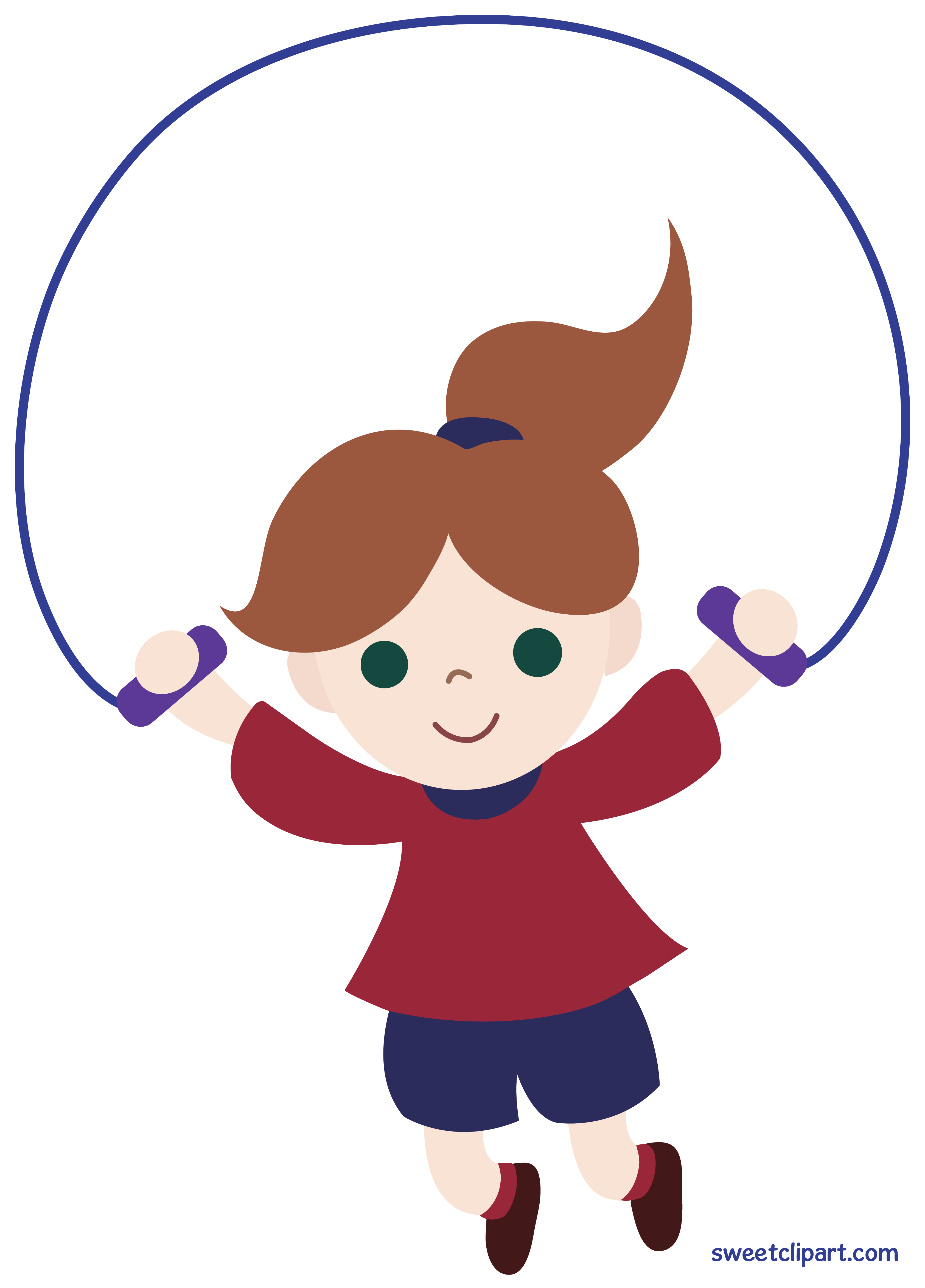 Little Girl Jumping Rope Clipart.