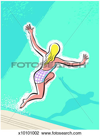 Stock Photo of Girl jumping into swimming pool x10101002.