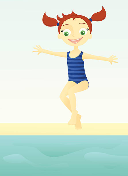 Kids Jumping Pool Clip Art, Vector Images & Illustrations.