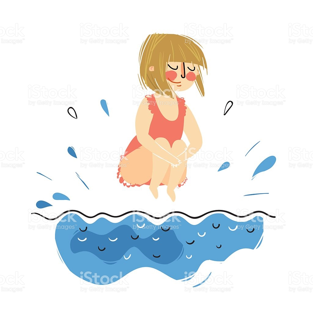 Little Girl Jumping To The Swimming Pool stock vector art.