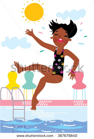 A Girl Jumping In A Pool Clipart.