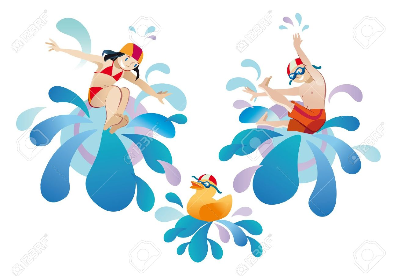 Jumping Into A Pool Clipart.
