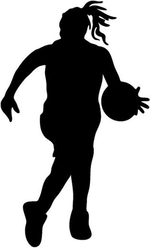 Girl playing basketball clipart.