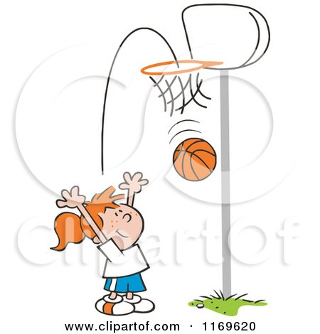 Cartoon of a Little Girl Tossing a Basketball Through a Hoop.