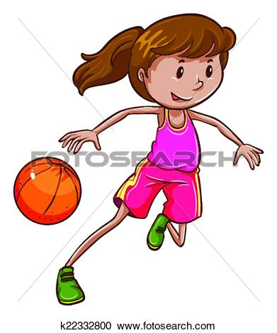 Clipart of A simple coloured sketch of a girl playing basketball.