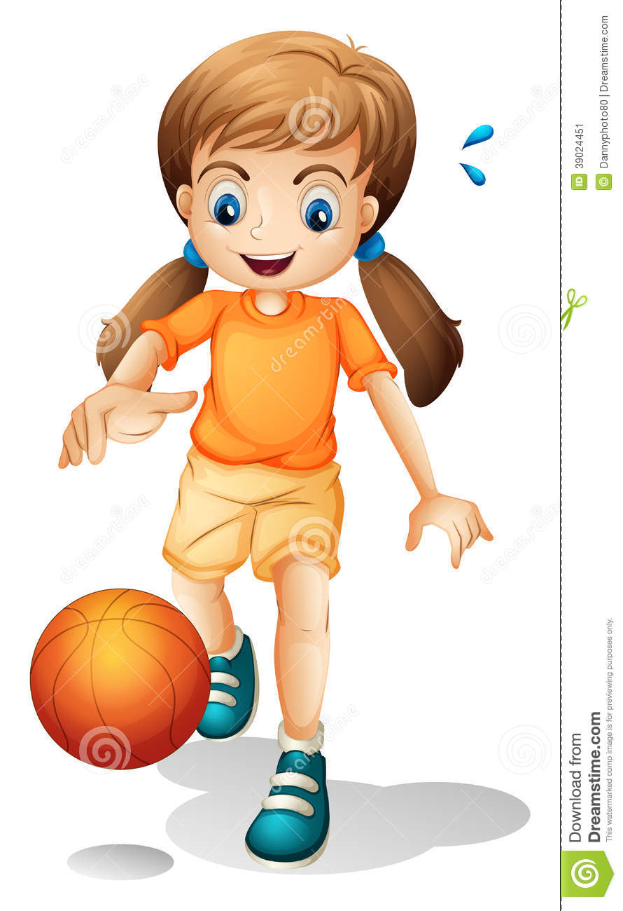 A Young Girl Playing Basketball Stock Vector.
