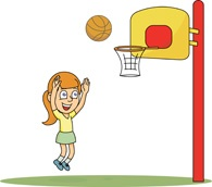 Cartoon Girl Playing Basketball.