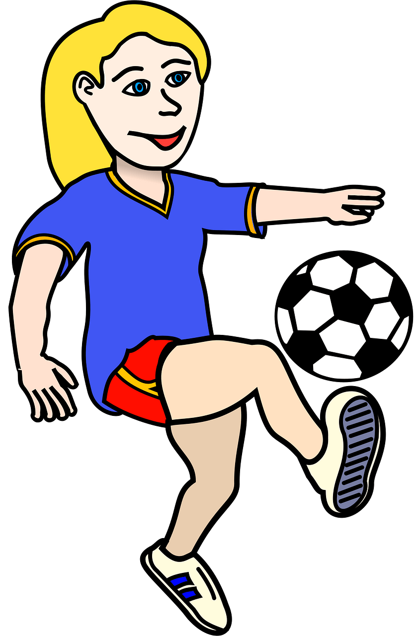 Girl playing football clipart. Free download..